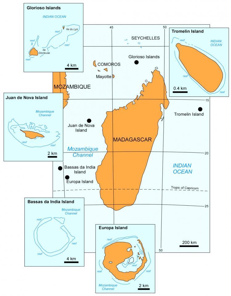 La carte des Iles éparses de Madagascar