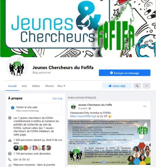 La page Facebook des jeunes cheercheurs du FOFIFA