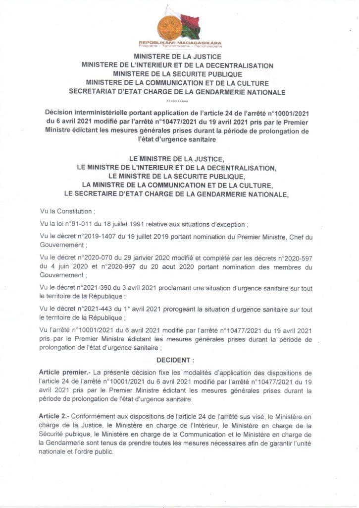 DECISION INTERMINISTERIELLE EN DATE DU 22 AVRIL 2021